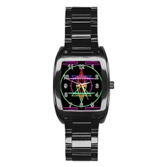 Drawing Of A Color Mandala On Black Stainless Steel Barrel Watch