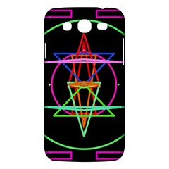 Drawing Of A Color Mandala On Black Samsung Galaxy Mega 5.8 I9152 Hardshell Case