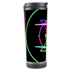 Drawing Of A Color Mandala On Black Travel Tumbler