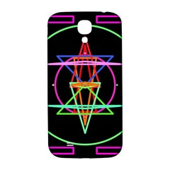 Drawing Of A Color Mandala On Black Samsung Galaxy S4 I9500/I9505  Hardshell Back Case