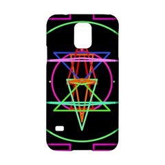 Drawing Of A Color Mandala On Black Samsung Galaxy S5 Hardshell Case