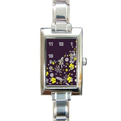 Vintage Retro Floral Flowers Wallpaper Pattern Background Rectangle Italian Charm Watch
