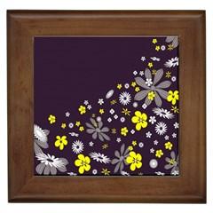 Vintage Retro Floral Flowers Wallpaper Pattern Background Framed Tiles