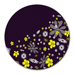 Vintage Retro Floral Flowers Wallpaper Pattern Background Round Mousepads