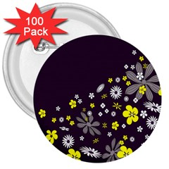 Vintage Retro Floral Flowers Wallpaper Pattern Background 3  Buttons (100 pack)