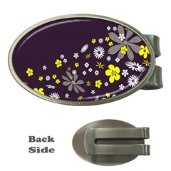 Vintage Retro Floral Flowers Wallpaper Pattern Background Money Clips (Oval)