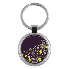 Vintage Retro Floral Flowers Wallpaper Pattern Background Key Chains (Round)