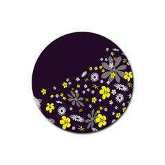 Vintage Retro Floral Flowers Wallpaper Pattern Background Rubber Round Coaster (4 Pack)