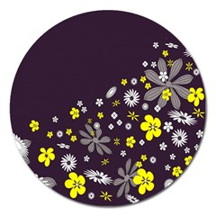 Vintage Retro Floral Flowers Wallpaper Pattern Background Magnet 5  (round)