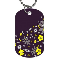 Vintage Retro Floral Flowers Wallpaper Pattern Background Dog Tag (One Side)