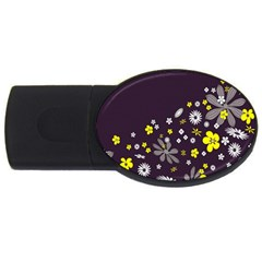 Vintage Retro Floral Flowers Wallpaper Pattern Background USB Flash Drive Oval (2 GB)