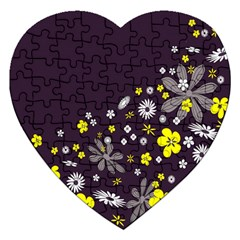 Vintage Retro Floral Flowers Wallpaper Pattern Background Jigsaw Puzzle (Heart)