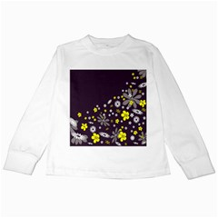 Vintage Retro Floral Flowers Wallpaper Pattern Background Kids Long Sleeve T-Shirts