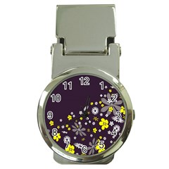 Vintage Retro Floral Flowers Wallpaper Pattern Background Money Clip Watches