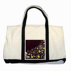 Vintage Retro Floral Flowers Wallpaper Pattern Background Two Tone Tote Bag