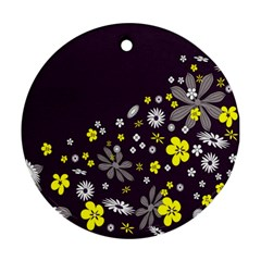 Vintage Retro Floral Flowers Wallpaper Pattern Background Round Ornament (Two Sides)