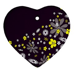 Vintage Retro Floral Flowers Wallpaper Pattern Background Heart Ornament (two Sides)
