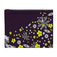 Vintage Retro Floral Flowers Wallpaper Pattern Background Cosmetic Bag (xl)
