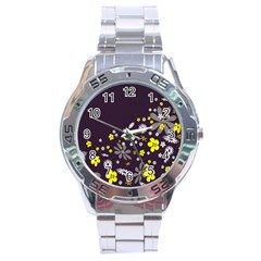 Vintage Retro Floral Flowers Wallpaper Pattern Background Stainless Steel Analogue Watch