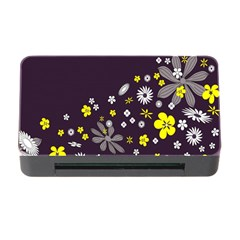 Vintage Retro Floral Flowers Wallpaper Pattern Background Memory Card Reader with CF