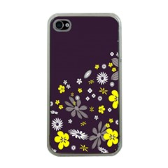 Vintage Retro Floral Flowers Wallpaper Pattern Background Apple iPhone 4 Case (Clear)