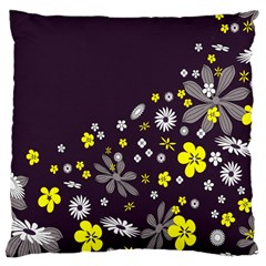 Vintage Retro Floral Flowers Wallpaper Pattern Background Large Cushion Case (One Side)