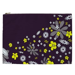 Vintage Retro Floral Flowers Wallpaper Pattern Background Cosmetic Bag (XXL)