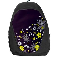 Vintage Retro Floral Flowers Wallpaper Pattern Background Backpack Bag