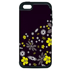 Vintage Retro Floral Flowers Wallpaper Pattern Background Apple Iphone 5 Hardshell Case (pc+silicone)