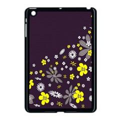 Vintage Retro Floral Flowers Wallpaper Pattern Background Apple iPad Mini Case (Black)