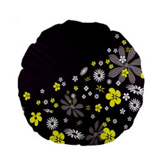 Vintage Retro Floral Flowers Wallpaper Pattern Background Standard 15  Premium Round Cushions
