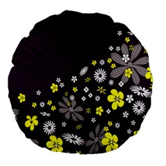 Vintage Retro Floral Flowers Wallpaper Pattern Background Large 18  Premium Round Cushions