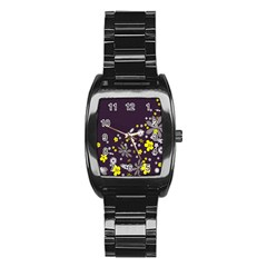 Vintage Retro Floral Flowers Wallpaper Pattern Background Stainless Steel Barrel Watch