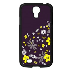 Vintage Retro Floral Flowers Wallpaper Pattern Background Samsung Galaxy S4 I9500/ I9505 Case (Black)