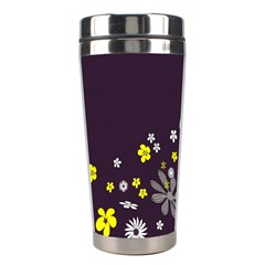 Vintage Retro Floral Flowers Wallpaper Pattern Background Stainless Steel Travel Tumblers