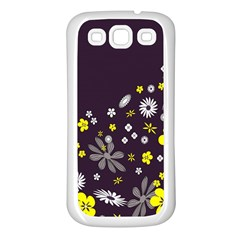 Vintage Retro Floral Flowers Wallpaper Pattern Background Samsung Galaxy S3 Back Case (White)