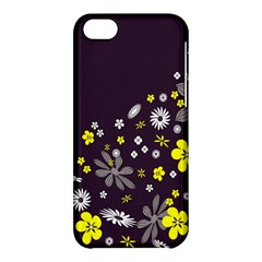 Vintage Retro Floral Flowers Wallpaper Pattern Background Apple iPhone 5C Hardshell Case