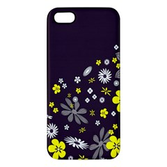 Vintage Retro Floral Flowers Wallpaper Pattern Background iPhone 5S/ SE Premium Hardshell Case