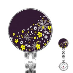 Vintage Retro Floral Flowers Wallpaper Pattern Background Stainless Steel Nurses Watch