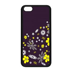 Vintage Retro Floral Flowers Wallpaper Pattern Background Apple iPhone 5C Seamless Case (Black)