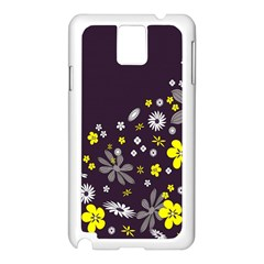 Vintage Retro Floral Flowers Wallpaper Pattern Background Samsung Galaxy Note 3 N9005 Case (White)