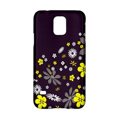Vintage Retro Floral Flowers Wallpaper Pattern Background Samsung Galaxy S5 Hardshell Case