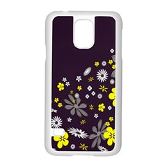 Vintage Retro Floral Flowers Wallpaper Pattern Background Samsung Galaxy S5 Case (White)