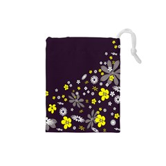 Vintage Retro Floral Flowers Wallpaper Pattern Background Drawstring Pouches (Small)
