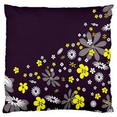 Vintage Retro Floral Flowers Wallpaper Pattern Background Large Flano Cushion Case (One Side)