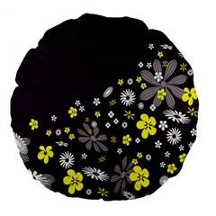 Vintage Retro Floral Flowers Wallpaper Pattern Background Large 18  Premium Flano Round Cushions