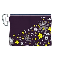 Vintage Retro Floral Flowers Wallpaper Pattern Background Canvas Cosmetic Bag (L)