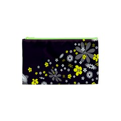 Vintage Retro Floral Flowers Wallpaper Pattern Background Cosmetic Bag (XS)