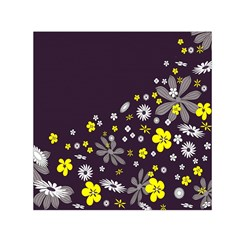 Vintage Retro Floral Flowers Wallpaper Pattern Background Small Satin Scarf (Square)