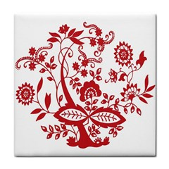 Red Vintage Floral Flowers Decorative Pattern Clipart Tile Coasters